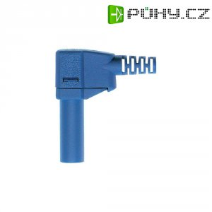 Lamelový konektor Ø 4 mm MultiContact 22.2667-23, zástrčka úhlová, modrá