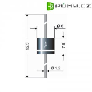 Dioda SEMIKRON® Semikron P 600 K, U(RRM) 800 V, I(F) 6 A, Ø 8 x 7,5 mm