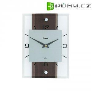 Analogové nástěnné hodiny, 18222, 20 x 28 x 5 cm, dřevo/sklo/hliník, ořecho