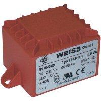 Transformátor do DPS Weiss Elektrotechnik EI 42, prim: 230 V, Sek: 6 V, 833 mA, 5 VA