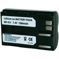Li-Ion akumulátor pro videokameru CANON BP511, 7,4 V, 1300 mAh, černá