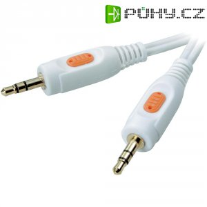 Bílé konektorové spojení jack 3,5 mm, 2,5 m
