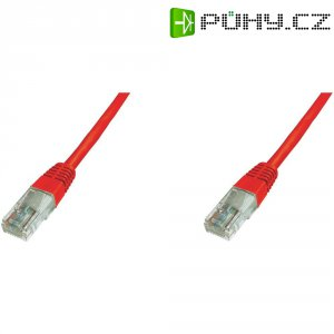 Patch kabel CAT 5e SF/UTP RJ 45, vidlice ⇔ vidlice, 0,25 m, červený
