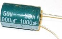 1000u/50V 16x22x7,5mm, elektrolyt. kondenzátor radiální