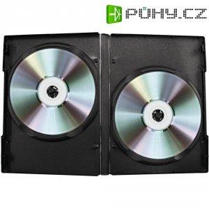 Dvojitý CD/DVD box, 15 mm, černá, 5 ks