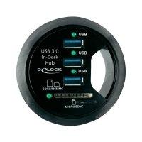 Stolní USB 3.0 hub Delock, 3-portový + 2 sloty SD karty