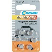 Knoflíková baterie Conrad energy ZA13, zinek/vzduch, 280 mAh, 1,4 V, 6 ks