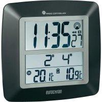 Digitální nástěnné DCF hodiny Eurochron EFWU 1601, RCW25, 254 x 254 x 40 mm, černá