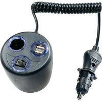 Nabíječka do auta, A13-193, 12/24 V, 2x USB, 1x microUSB, 1x autozásuvka 12 V
