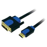 HDMI LogiLink, DVI kabel, zástrčka/zástrčka, 18+1pol., černý 3 m