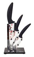 Sada keramických nožů SALENTE Sakura se stojánkem (3 keramické nože s exkluzivním květinovým vzorem