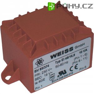 Transformátor do DPS Weiss Elektrotechnik EI 48, prim: 230 V, Sek: 2x 6 V, 833 mA, 10 VA