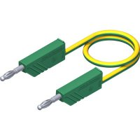 Měřicí kabel banánek 4 mm ⇔ banánek 4 mm SKS Hirschmann CO MLN 50/2,5, 0,5 m, zelená/žlutá