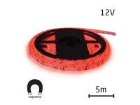 LED pásek 12V 5050 60LED/m IP20 max. 14.4W/m červená, magnetický (1ks=cívka 5m)