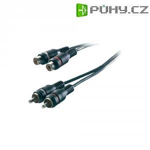Prodlužovací kabel SpeaKa, 2x cinch zástr./2x cinch zásuvka, černý, 3 m