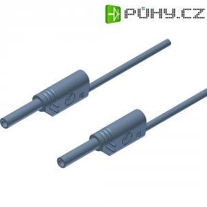 Měřicí kabel banánek 2 mm ⇔ banánek 2 mm SKS Hirschmann MVL S 100/1 Au, 1 m, šedá