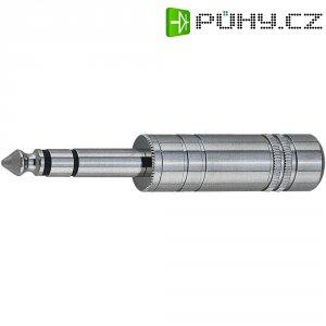 Konektor jack 6,35 mm, zástrčka rovná, 3pól./stereo, stříbrná