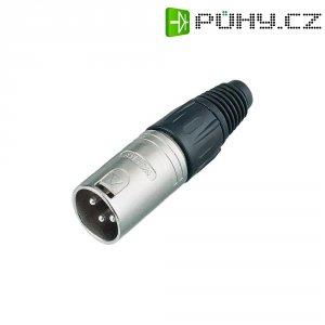 XLR kabelová zástrčka Neutrik NC 3 MX, rovná, 3pól., 3,5 - 8 mm, stříbrná