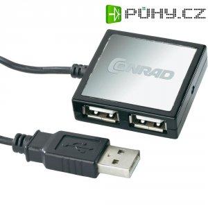 USB 2.0 Hub se 4 porty s kabelem, stříbrná