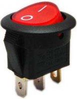 Vypínač kolébkový OFF-ON 1pol.12V/16A,červený s prosvětlením