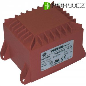 Transformátor do DPS Weiss Elektrotechnik EI 60, prim: 230 V, Sek: 2x 15 V, 833 mA, 25 VA