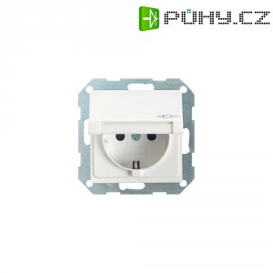 Zásuvka s krytkou Gira, 045403, lesklá bílá, schuko