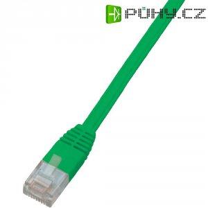 Plochý patch kabel CAT 5e U/UTP RJ 45, vidlice ⇔ vidlice, 0,5 m, zelený
