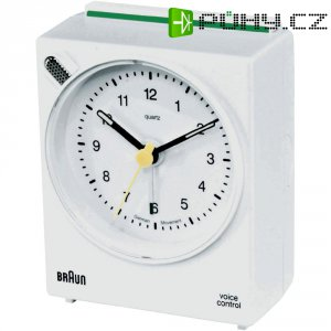 Analogový budík Braun voice control, 660077, 63 x 76 x 34 mm, bílá