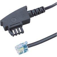 TAE, RJ11 telefonní kabel 922663, 6 m, černá