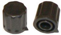 Přístrojový knoflík KP1406, 14x15mm, hřídel 6mm, černý s šipkou