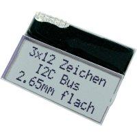 LCD displej, EA T123W-I2C, 2,85 mm, černá/bílá