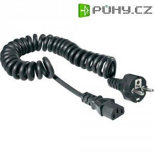 Síťový spirálový kabel s IEC zásuvkou, 2,5 m, černá