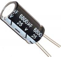 6800u/25V 85° 18x31x7,5mm, elektrolyt.kondenzátor radiální
