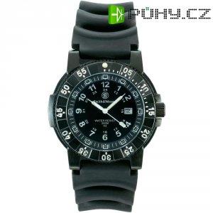 Ručičkové náramkové hodinky S&W, 76054, potápěčské, gumový pásek, černá