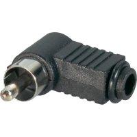 Cinch konektor BKL Electronic 072141/T Pólů: 2, zástrčka, zahnutá, černá, 1 ks