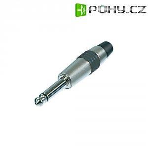 Jack konektor 6,35 mm mono Rean AV NYS224C-5, zástrčka rovná, ≤ 6 mm, 2pól., stříbrná/zelená