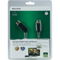 HDMI Belkin High Speed kabel, plochý 3D s ethernetem, pozl. kontakty, 2 m