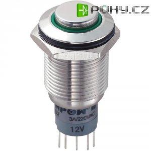 Tlačítkový spínač antivandal TRU COMPONENTS LAS2GQH-11ZE/G/12V/S/P, 250 V/AC, 3 A, nerezová ocel, 1 ks