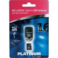 Pamětová karta microSDHC Platinum 16GB, Class 4, USB čtečka