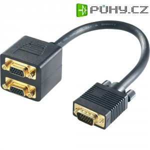 Splitter kabel VGA, 20 cm, černý