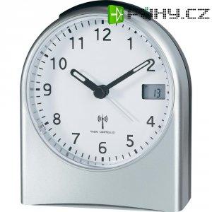 Analogový DCF budík s LCD, TRC202LCD, 96 x 114 x 54 mm, stříbrná