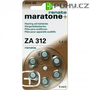 Knoflíková baterie ZA 312, Renata PR41, zinek-vzduch, vhodné do naslouchátek, 6 ks