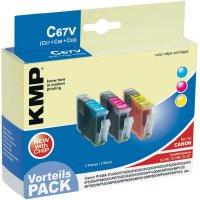 Cartridge KMP C67V, 1505,0005, cyan/magenta/žlutá