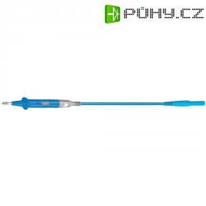 Měřicí silikonový kabel banánek 4 mm ⇔ měřící hrot MultiContact XSPP-419/SIL, 3 m, modrá