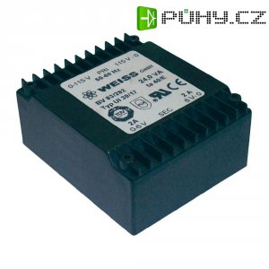 Plochý transformátor Weiss UI 39, 2x 115 V/2x 6 V, 2x 2000 mA, 24 VA