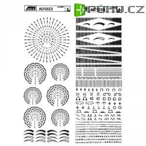 Značky pro plošné spoje SENO, stupnice a kruhové škály, černá