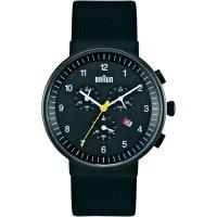 Ručičkové náramkové hodinky Braun Chrongraph Quartz, kožený pásek, černá