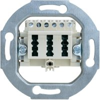 Zásuvka TAE Busch-Jaeger 3x6 NFN, 0243/02, krémově bílá