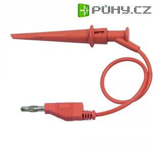 Měřicí kabel banánek 4 mm ⇔ krokosvorka MultiContact ALH-200, 0,3 m, červená