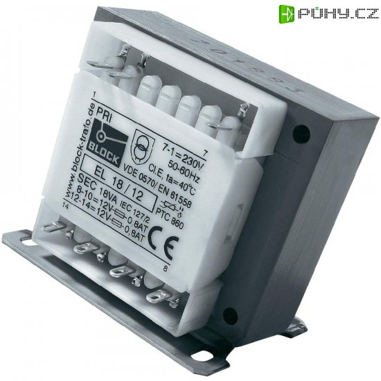 Bezpečnostní transformátor Block EL 18/9, 2x 9 V, 18 VA - Kliknutím na obrázek zavřete